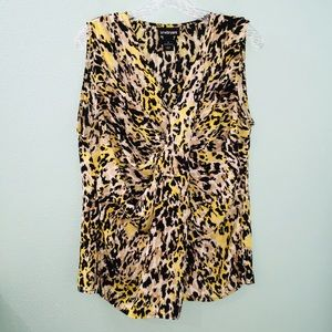Lane Bryant Leopard Print Sleeveless Wrap Blouse
